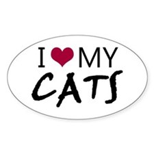 'I Love My Cats' Stickers