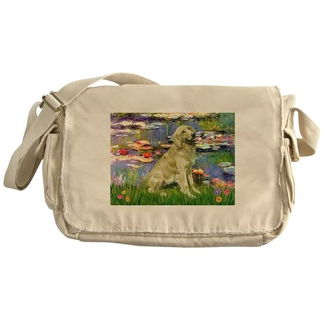 Lilies & Golden Messenger Bag