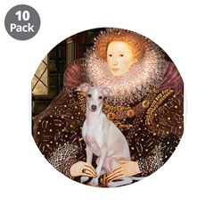 "Queen / Italian Greyhound 3.5"" Button (10 pack)"