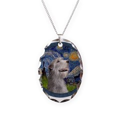Starry Irish Wolfhound Necklace Oval Charm