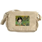 Irises/Japanese Chin Messenger Bag