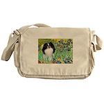 Irises/Japanese Chin Messenger Bag