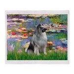Lilies / Keeshond Throw Blanket