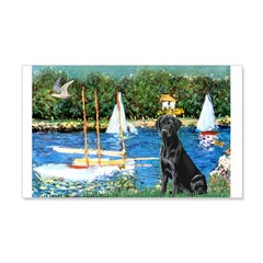 Sailboats & Black Lab 20x12 Wall Decal