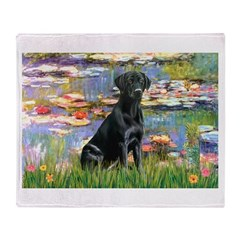 Lilies (#2) & Black Lab Throw Blanket