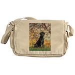 Spring & Black Lab Messenger Bag