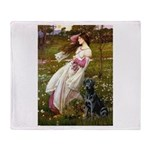 Windflowers & Black Lab Throw Blanket