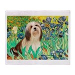 Irises / Lhasa Apso #4 Throw Blanket