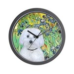 Irises / Maltaese (B) Wall Clock