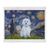 Van gogh starry night maltese Throw Blankets