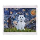 Van gogh starry night maltese Blankets