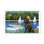 Sailboats & Newfoundland 20x12 Wall Decal