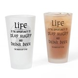 Rugby and Beer Drinking Glass