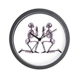 Double Praying Skeletons Wall Clock