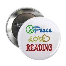 "Peace Love Reading 2.25"" Button"