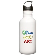 Peace Love Art Water Bottle