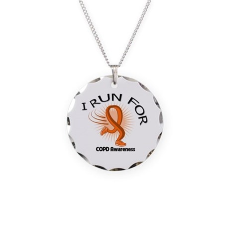 I Run COPD Awareness Necklace Circle Charm