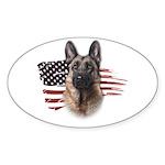 Patriotic German Shepherd Sticker (Oval 50 pk)