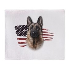 Patriotic German Shepherd Throw Blanket