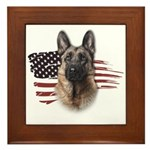 Patriotic German Shepherd Framed Tile