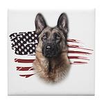 Patriotic German Shepherd Tile Coaster