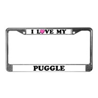 Puggle License Plate Frames
