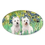 CUSTOM-Irises - 2 Westies Sticker (Oval)