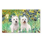 CUSTOM-Irises - 2 Westies Sticker (Rectangle)