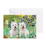 CUSTOM-Irises - 2 Westies Greeting Cards (Pk of 20