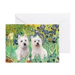 CUSTOM-Irises - 2 Westies Greeting Card
