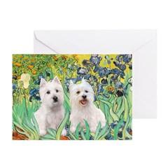 CUSTOM-Irises - 2 Westies Greeting Cards (Pk of 10