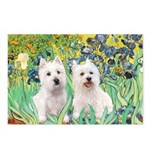 CUSTOM-Irises - 2 Westies Postcards (Package of 8)