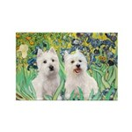 CUSTOM-Irises - 2 Westies Rectangle Magnet (10 pac