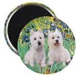 "CUSTOM-Irises - 2 Westies 2.25"" Magnet (10 pa"