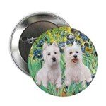 "CUSTOM-Irises - 2 Westies 2.25"" Button (10 pa"
