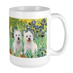 CUSTOM-Irises - 2 Westies Large Mug