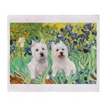 CUSTOM-Irises - 2 Westies Throw Blanket