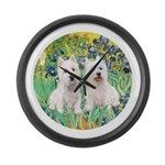 CUSTOM-Irises - 2 Westies Large Wall Clock