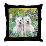 CUSTOM-Irises - 2 Westies Throw Pillow