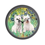 CUSTOM-Irises - 2 Westies Wall Clock