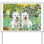 CUSTOM-Irises - 2 Westies Yard Sign