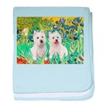 CUSTOM-Irises - 2 Westies baby blanket