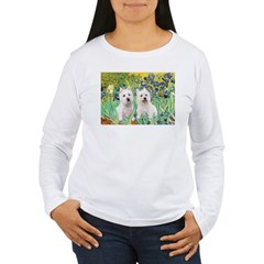 CUSTOM-Irises - 2 Westies Women's Long Sleeve T-Sh