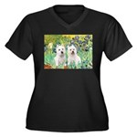 CUSTOM-Irises - 2 Westies Women's Plus Size V-Neck