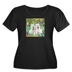 CUSTOM-Irises - 2 Westies Women's Plus Size Scoop