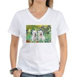 CUSTOM-Irises - 2 Westies Women's V-Neck T-Shirt