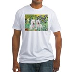 CUSTOM-Irises - 2 Westies Fitted T-Shirt