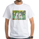 CUSTOM-Irises - 2 Westies White T-Shirt