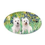 CUSTOM-Irises - 2 Westies 22x14 Oval Wall Peel