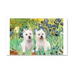 CUSTOM-Irises - 2 Westies Car Magnet 20 x 12